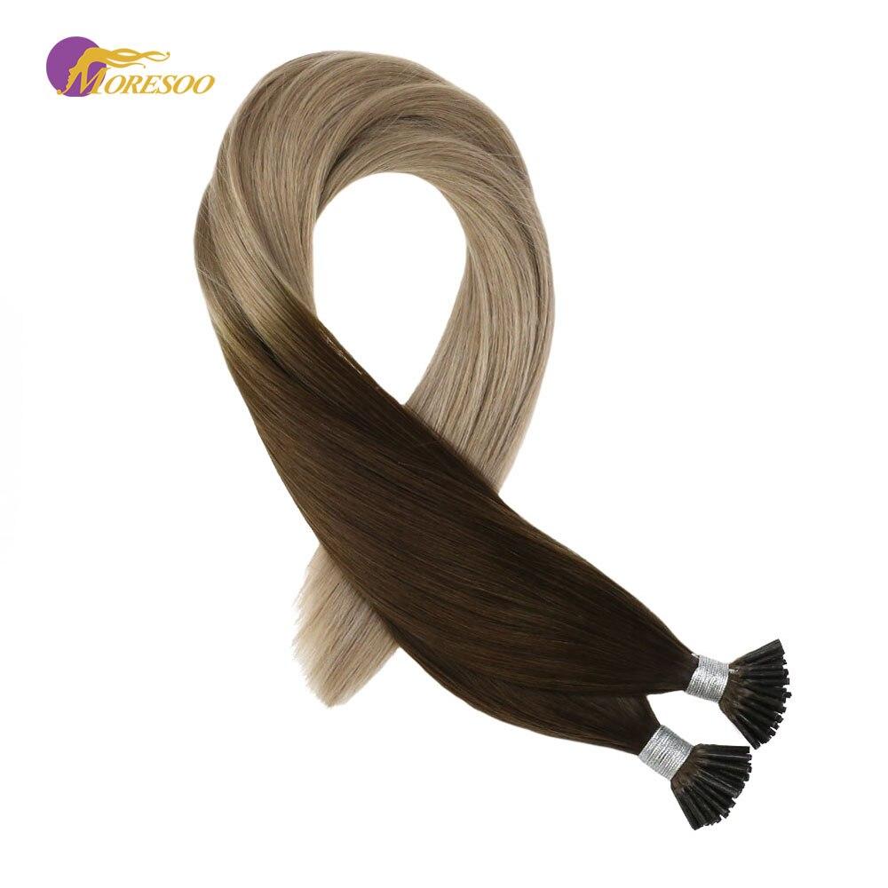 Ausdrucksvoll Moresoo Vor Verbundenes Haar Extensions Spitze Ich Menschenhaar Extensions Ombre Farbe Braun #4 Verblassen Zu Asche Blonde #18 Remy Haar 1g/1 S 50g