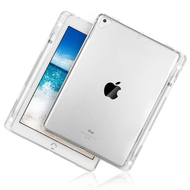 wholesale dealer 8b98a 45d03 US $8.29 17% OFF|For Apple New iPad 9.7 2018 2017 Case With Pencil Holder  Cover For iPad Air 1 2 iPad Pro 9.7 TPU Soft Clear Transparent shell-in ...