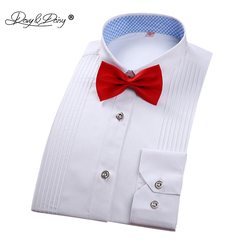 DAVYDAISY 2020 New Men Tuxedo Shirt White Long Sleeved Shirt Wedding  Men's Shirts Brand Clothing Male Shirt 8 Colors DS149