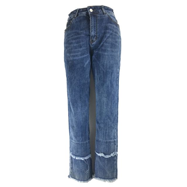 ME&SKI Jeans Women Denim Scratched Elastic Skinny Jeans Ripped Pants High Waist Trousers Jeans Casual Color Blue