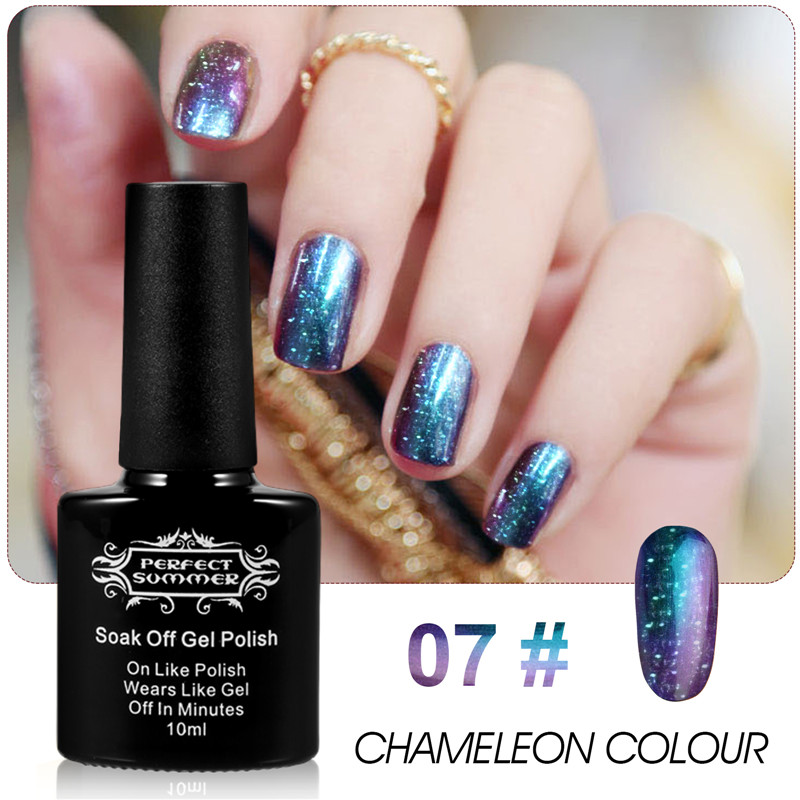Por Holographic Glitter Starry Galaxy Chameleon Colors Changes Gel Nails Polish Uv Led Soak Off Nail 07 In From Beauty Health On
