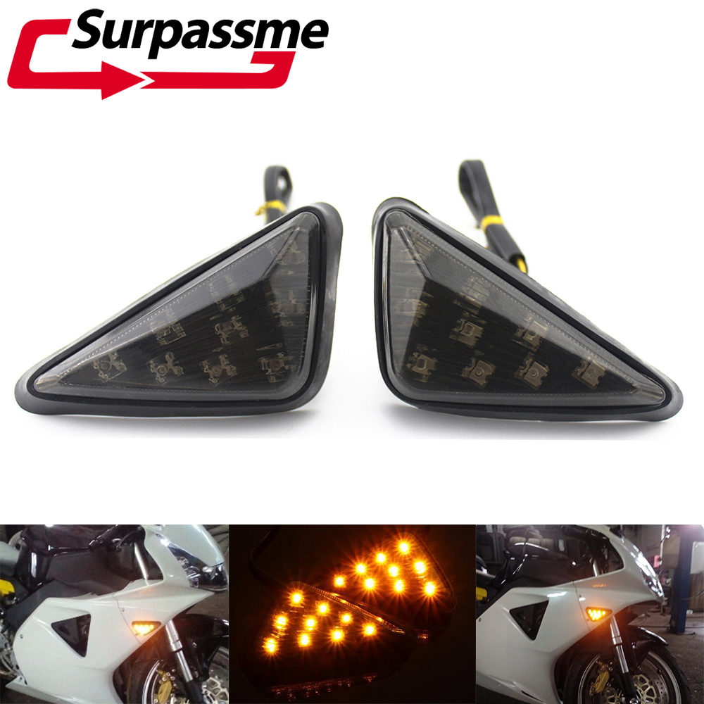 Pair Universal 10mm Motorcycle Smoked LED Blinker Turn Signal Indicators Light