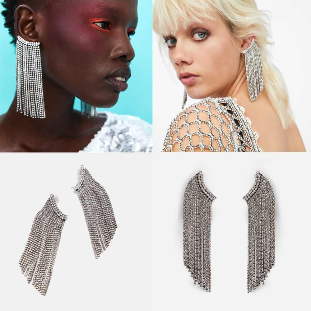Girlgo Fashion 2019 ZA Crystal Luxury Fringed Drop Dangle Earrings for Women Bling Trendy Haniging Statement Jewelry Wholesale