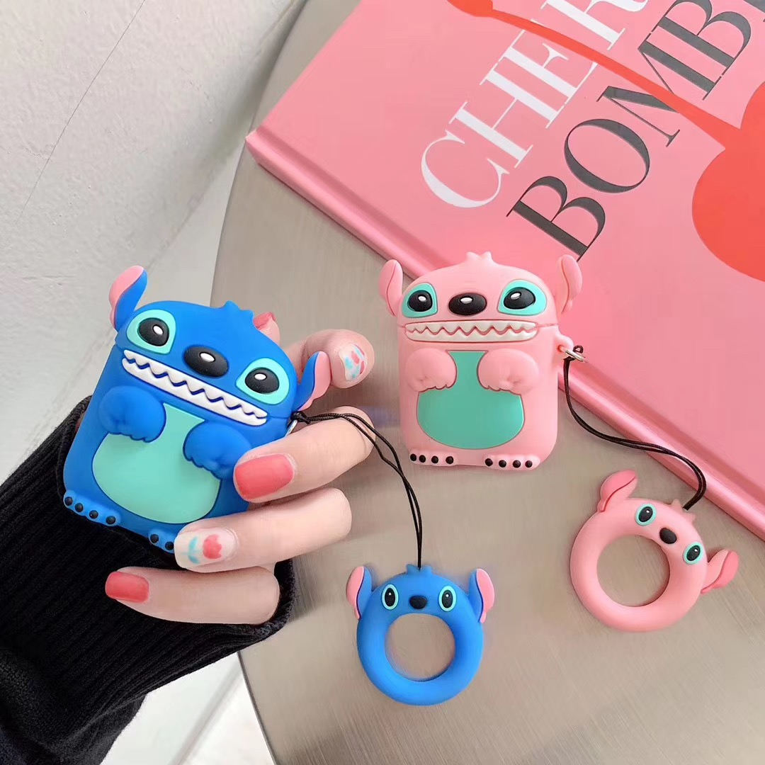 For AirPods Case 3D Cartoon Stitch Earphone Case For Apple Airpods 2 Case Funny Accessories Protective Covers Finger Ring Strap