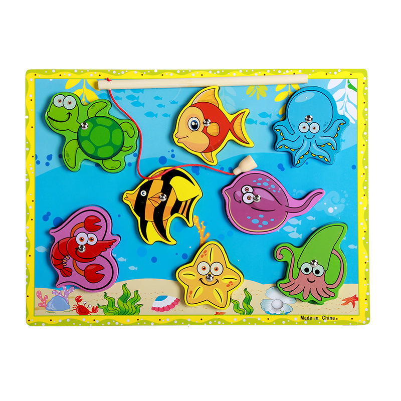 Rrandom Wooden Fishing Educational Toys For Children Biology Ocean Animals Magnets Puzzles Board Funny Teaching Aids Kids Toy Toys & Hobbies Learning & Education