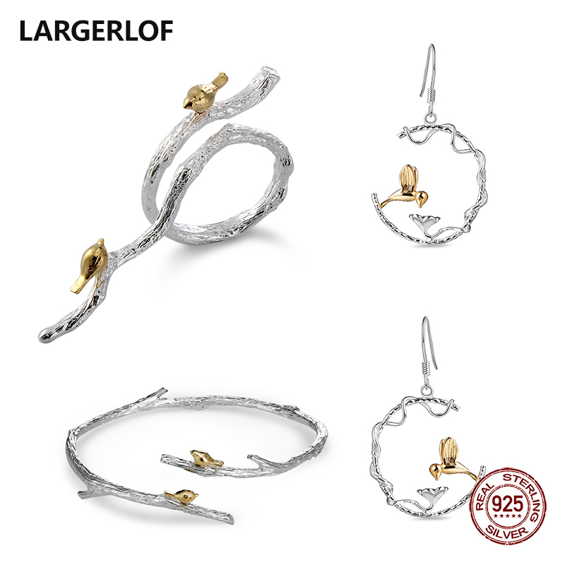 LARGERLOF 925 Sterling Silver Jewelry Set Silver Women 925 Silver Jewelry Handmade Jewelry Sets JS50013 серьги danny jewelry 925