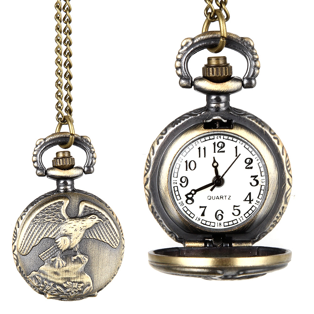 Fashion Men Women Vintage Quartz Pocket Watch Alloy Antique Eagle Wings Pattern Necklace Pendant Chain Clock Gifts LXH