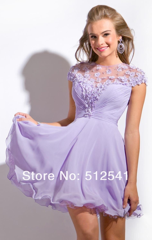 2015 Short sleeves Cheap Purple Homecoming Dresses Sheer Mini A Line ...