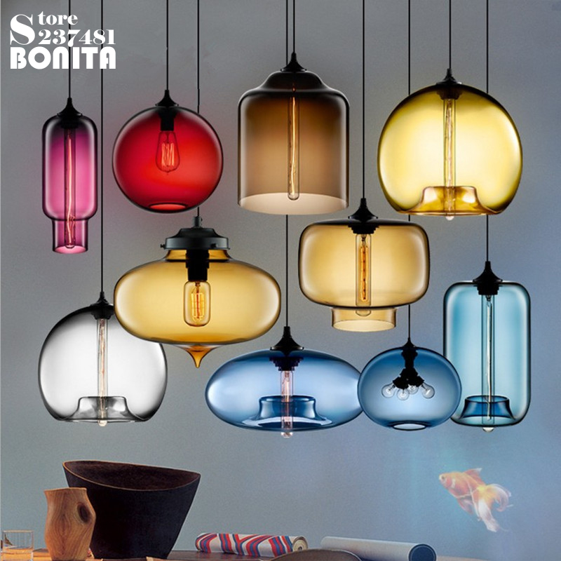 Northern Europe Simple Transparent Glass Hanging Lights For Dining Room Colorful Goldfish bowl Cord Pendant Lamp Clear Glass square corners hanging antique copper 2 candelabra sockets clear glass
