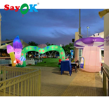 цены Inflatable flower arch inflatable mushrooms with led lights for kids party/event/amusement park decoration