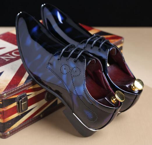 De Chaussures Cuir En Taille up Bout ardoisé Casual Pointu rouge Dentelle Grande 03b Bleu Hommes Appartements Richelieus Mode Robe qCSX71cw