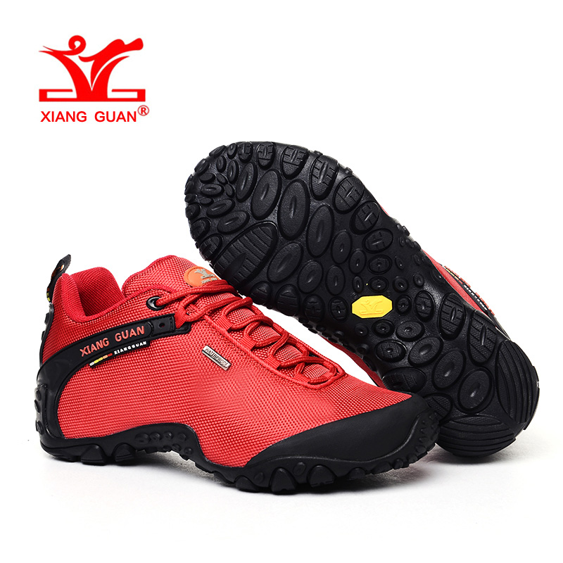 XIANGGUAN Woman Hiking Shoes Women Athletic Trekking Boots Red Zapatillas Sports Climbing Hike Shoe Outdoor Walking Sneakers vik max athletic shoe women tricot lined figure ice skates shoes