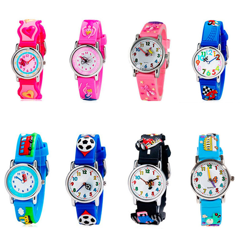 Lovely Cartoon Animal Design Quartz Watch Barn Kid Silicone Band Armbandsur