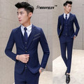 MAUCHLEY Korean Style Slim Fit Suit 3 Piece/Set Jacket +Vest+Pants Men Suits Wedding Suits Dress Boys Single Breasted Design