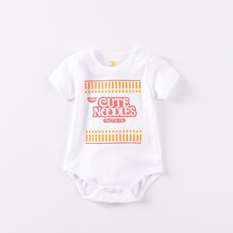 2019 hot pink short-sleeved jumpsuit stripes funny noodles baby girl clothes cotton short   romper   infant girl clothes roupas