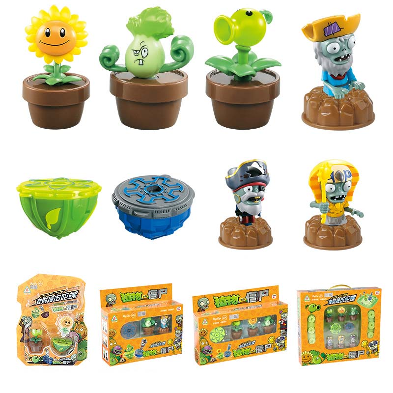 Plants V s Zombies Burst Fusion Toupie Burst With Launcher Bucket Plate Toy Figures Kids Gift in Spinning Tops from Toys Hobbies