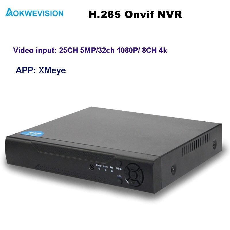 Aokwevision Новое поступление XMeye Onvif H.264/265 NVR 25ch 5MP сетевой видеорегистратор Поддержка 8CH 4 К/25ch 5MP/32ch 1080 P