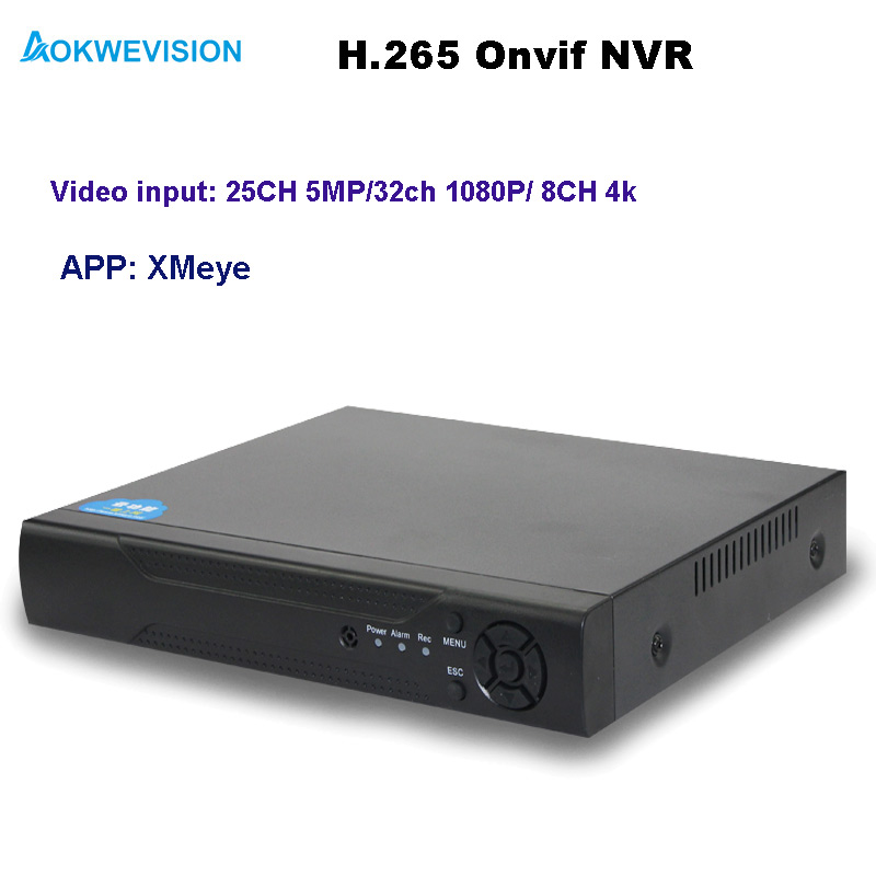 Aokwevision new arrival XMeye Onvif H.264/265 NVR 25ch 5MP network video recorder support 8CH 4k/ 25ch 5MP / 32ch 1080P