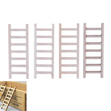 New 2018 Fairy Garden Decor Dollhouse Miniature Wood Step Ladder Furniture Tools 4 PCS/lot(China)
