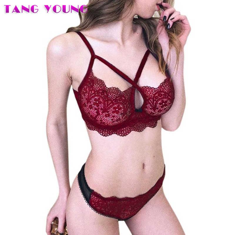 1a44ee29b13 2019 Women s Sexy lingerie Set Cross Bandage Bra Set Hollow Out Floral Lace  bralette G-