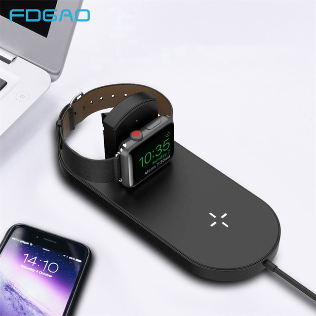 low priced 42339 3e6f2 US $14.99 40% OFF FDGAO 2 IN 1 10W Fast Qi Wireless Charger Quick Charging  Pad For iPhone 8 X XR XS Max Apple Watch Series 4 3 2 For Samsung S9 S8-in  ...