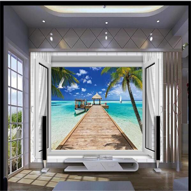 Beibehang 3d обои Мальдивы Beach Pier лодка фотографии Задний план Современная Фреска для Гостиная большая картина Домашний Декор