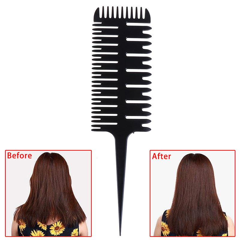 Colorful Women Updo Big Tooth Comb Hair Dyeing Tool New Barber Salon Style Haircut Comb With Tail Fish Bone Shape