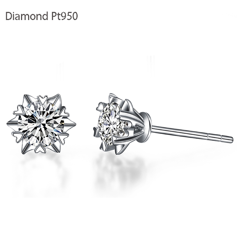 0 16ct Diamond Earrings Gvbori Pt950 For Women Fine Jewelry Snowflakes Heart Design In From Accessories On