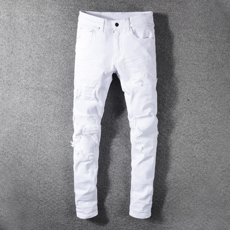 Fashion Streetwear Men Jeans White Color Slim Fit Destroyed Ripped Jeans Men Patchwork Designer Elastic Hip Hop Jeans Pants