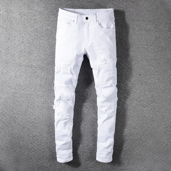 Fashion Streetwear Men Jeans White Color Slim Fit Destroyed Ripped Jeans Men Patchwork Designer Elastic Hip Hop Jeans Pants fashion designer men jeans black color slim fit elastic ripped jeans men destroyed leather patch streetwear hip hop jeans