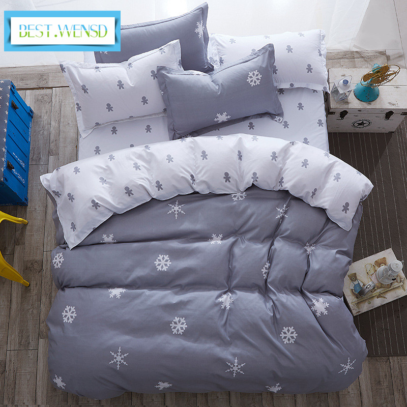 BEST.WENSD Comforter king grey bedclothes bed linen snowflake Cotton Bedding set Winter bedsheets duvet cover sets jogo de cama