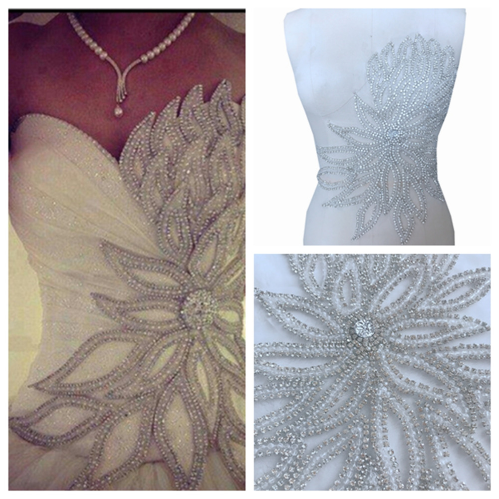 Handmade silver sew on Rhinestones applique on mesh trim patches with stones sequins beads 40*37cm Diy dress accessory