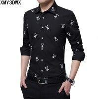 الرجال القطن طويل الأكمام قميص أزياء الطباعة التجارية حار مبيعات الملابس الذكور ضئيلة مريحة اختيار حجم كبير 5xl