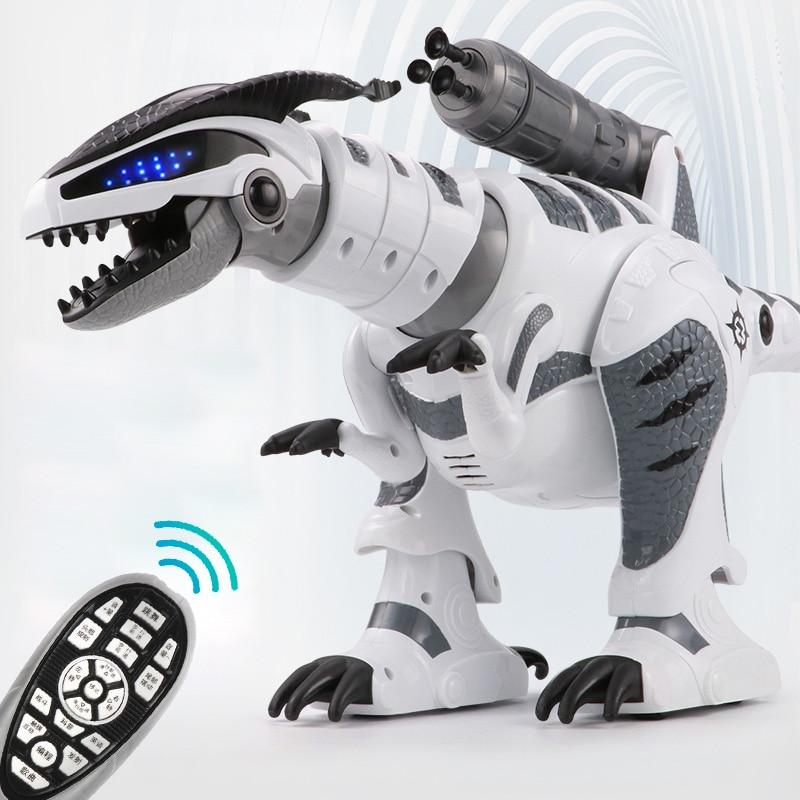 все цены на RC Intelligent Dinosaur Model Electric Remote Control Robot Mechanical War Dragon With Music&Light Functions Children Hobby Toys