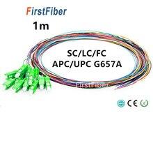 1 m fibra de cola de cerdo 12 colores SC/LC/FC/APC/UPC cable de fibra de cola de cerdo G657A 12 núcleo 12 fibras Simplex 9/125 modo único 0,9mm