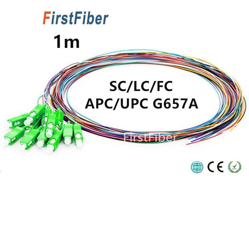 1m Fiber Pigtail 12 Colors Sc/lc/fc/apc/upc Fiber Pigtail Cable G657a 12 Core 12 Fibers Simplex 9/125 Single Mode 0.9mm Rapid Heat Dissipation