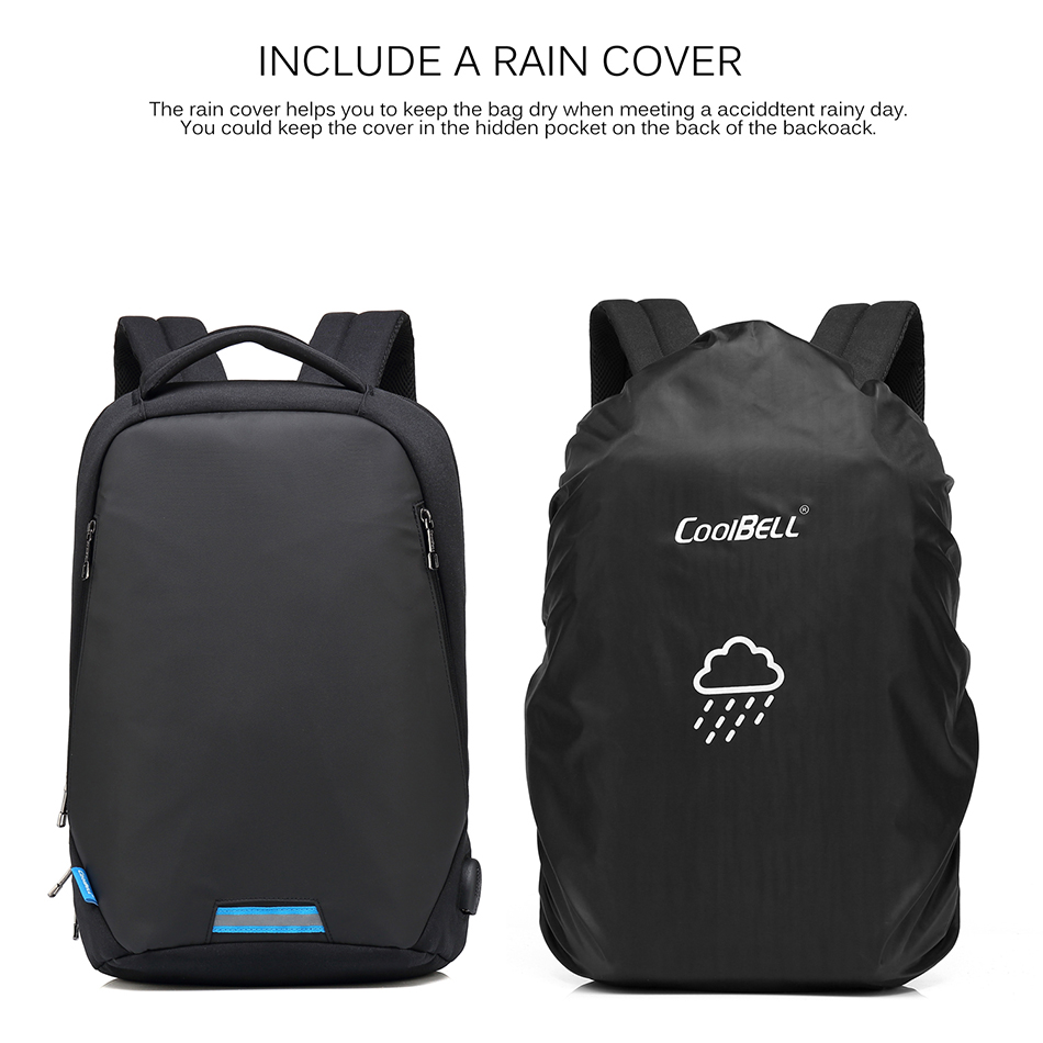 CoolBell Laptop Backpack Men Anti-theft Backpack Mochila 15.6 inch School Bag Women Large Capacity Notebook Computer Backpack