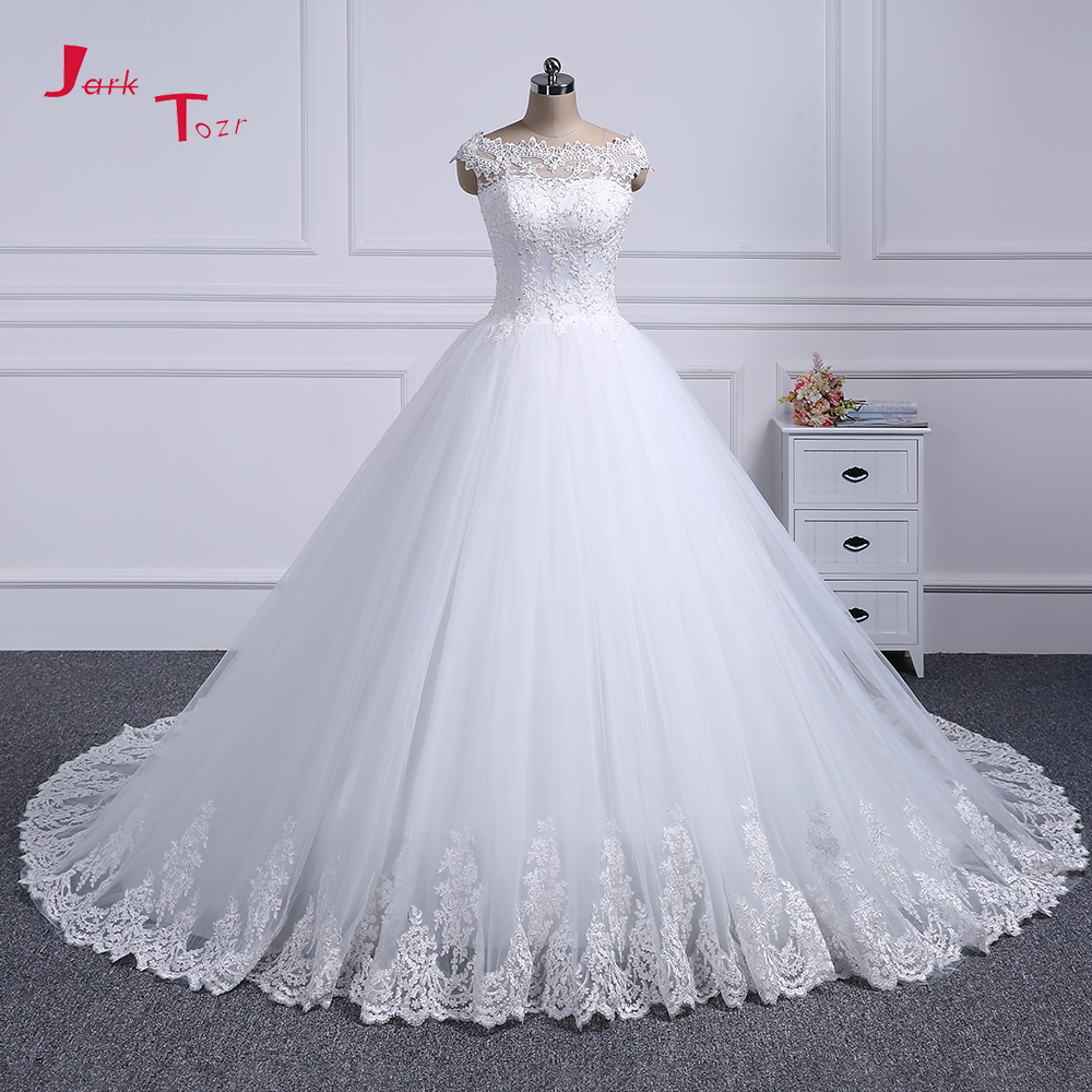 Best Promo Jark Tozr 100 Real Picture Cap Sleeve Button Up Beading Sequin Appliques Bridal Ball Gown Wedding Dress 2019 Vestidos De Novia March 2021