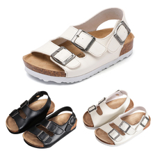 2019 Summer Baby boys Girls Shoes Children's Cork Sandals Kids Children Leather Shoes Breathable Slip On Child Girls Sandals P25