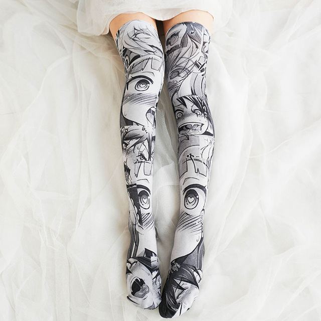 Japanese Girls Anime Pattern Cartoon Printed Stockings Lolita Velvet Overknee Stockings Cosplay Overknee Stockings