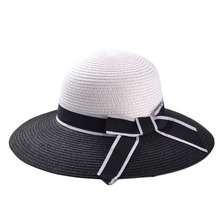 2016 Korean Summer Black And White Mosaic Bow Visor Hat Lady Hat Outdoor Uv Sun Hat Chapeau Paille casual Fashionable