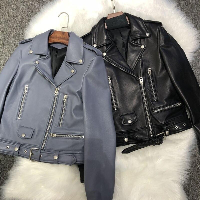 Pour Veste Fermeture Biker Couple Femme Pur Mince De Manteau Moto Cuir Court Véritable 2019 En Femmes Éclair Haute blue Noir Rue 6qaa7P
