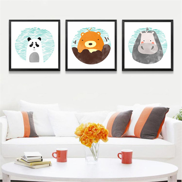 nordic cartoon canvas painting poster prints baby nursery decor