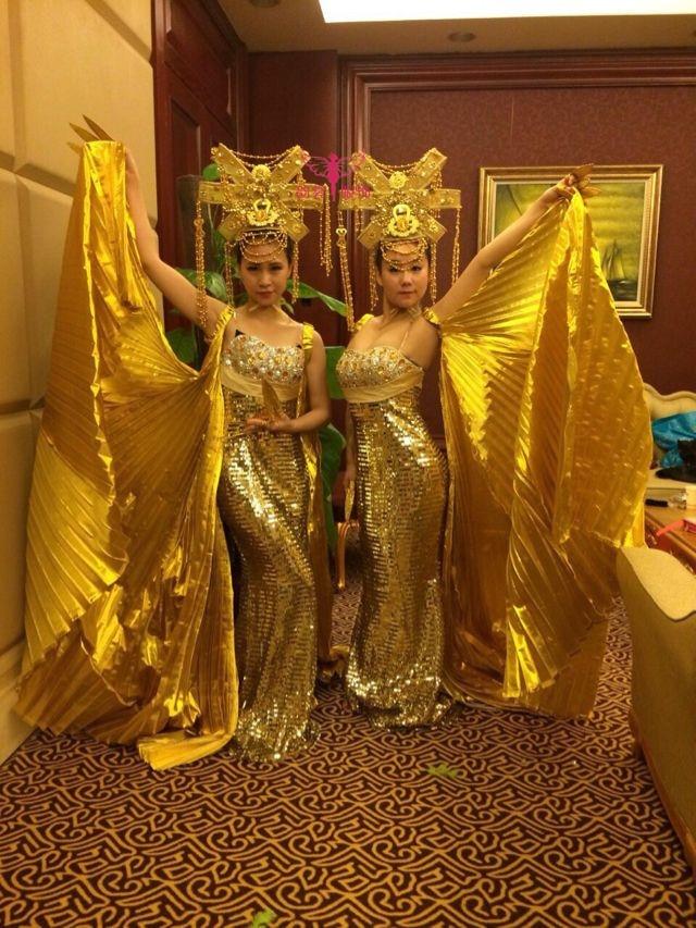 Grand Gorgeous Gold Hair Tiaras Empress Bride Wedding Hair Piece Thousand Hand Guanyin Buddha Dance Props 02 red gold bride wedding hair tiaras ancient chinese empress hair piece 02