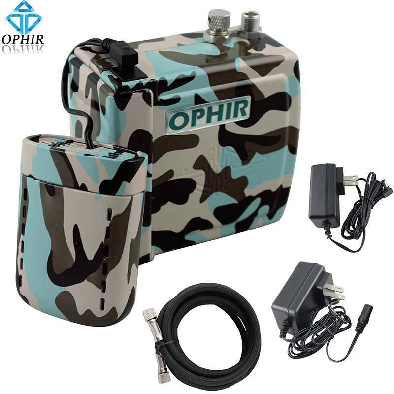 OPHIR NEW Mini Air Compressor with Rechargeable Battery Set for Airbrush Cake Body Tattoo Makeup Nail Art Hobby_AC003BF+AC079BF ophir cake airbrush kit with air compressor edible pigment