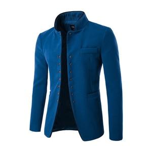 Image 3 - Nowy 2017 styl jesień zima mężczyźni garnitur casual mężczyźni pop stanąć kołnierz czesankowej tkaniny kieszeni przycisk dekoracji męska rozrywka płaszcz wierzchni