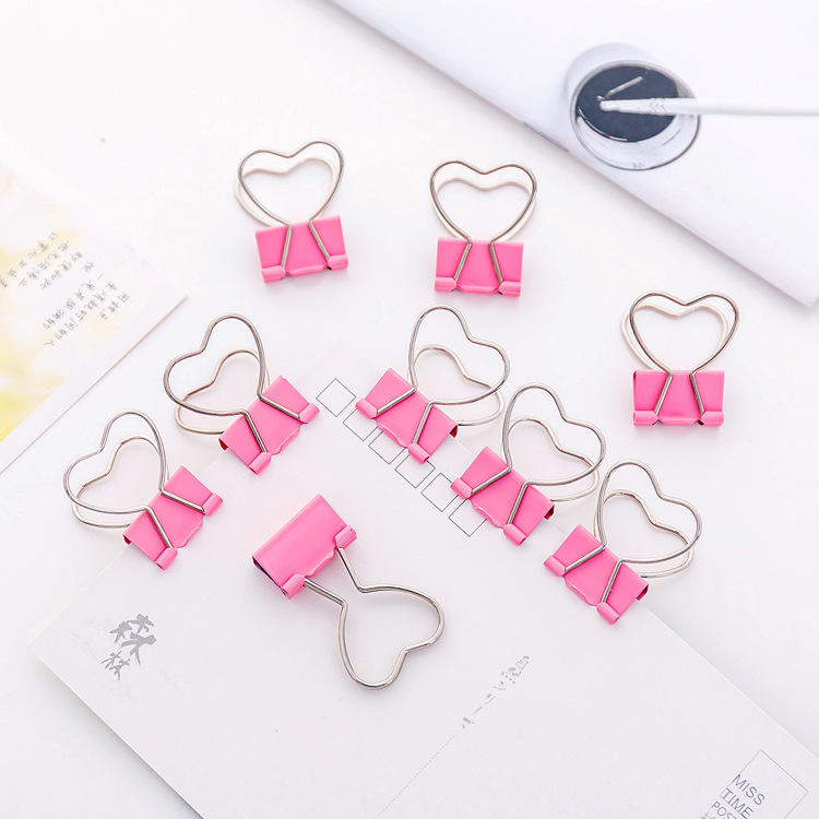 5pcs/pack Cute Pink Color Binder Clips Metal Love Heart Gift Clips Paper Office School Binding Supplies Stationery