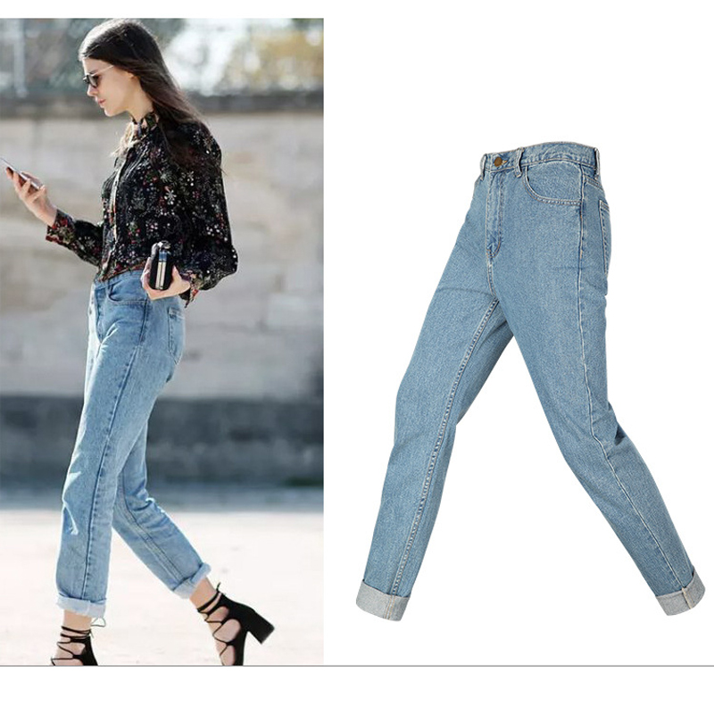 2017 Women Slim Jeans Female Vintage Straight High Waist Woman Cotton Blue Denim Loose Pants Plus Size Clothing WJNAM05