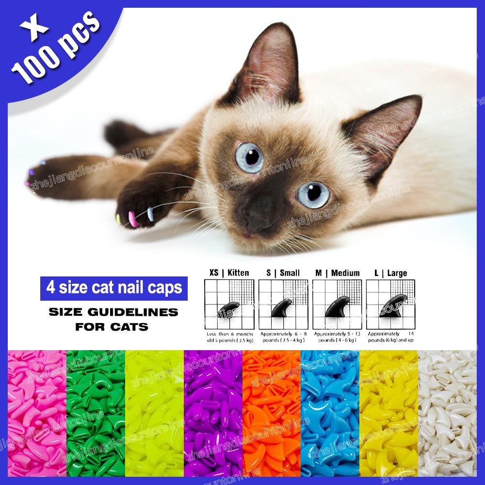 100pcs / lot Cat Nail Caps Soft Paw Nail Protector with free 5x ...