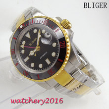 цена NEW 40mm Bliger Black dial date window Luminous mark Sapphire glass GMT Automatic Self-Wind Movement Men's Mechanical Wristwatch онлайн в 2017 году